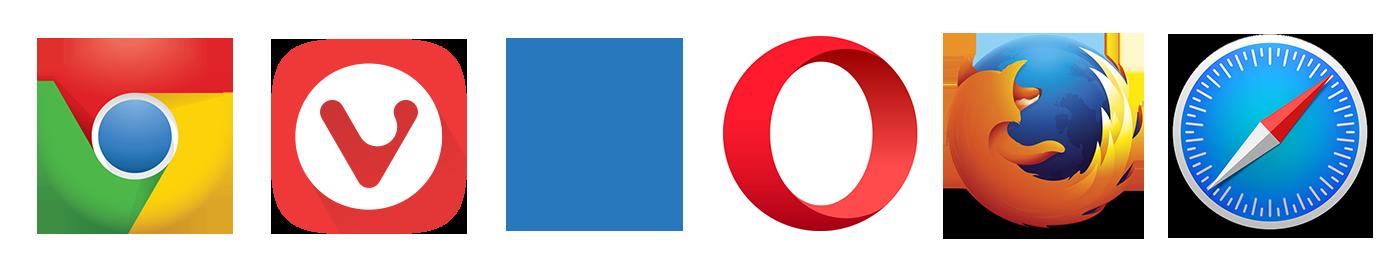 Vivaldi、chorome、IE、Opeara、Firefox、Safai、Microsoft Edgeのロゴ