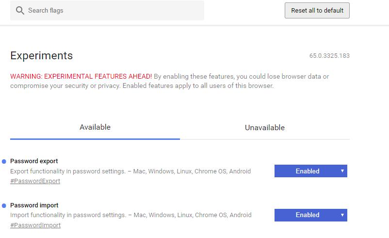 Vivaldiのパスワードのインポート・エクスポートの有効化