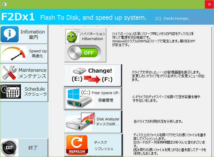 F2Dz1の設定「高速化」画面