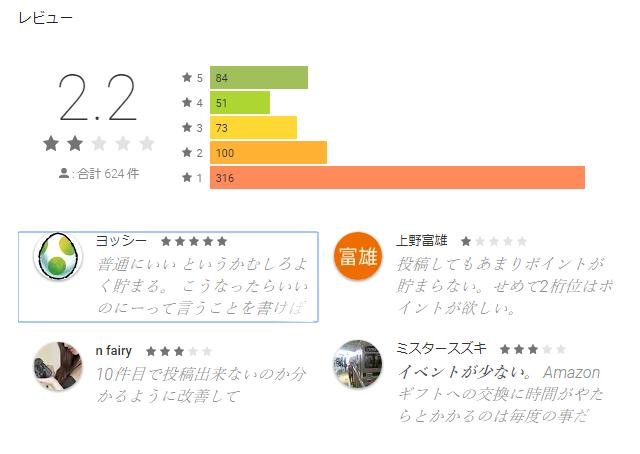 不満買取センターのアプリのレビュー「Googlle Play」