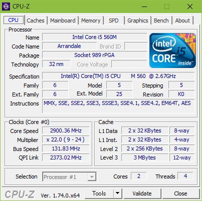 CPU-Zの表示画面