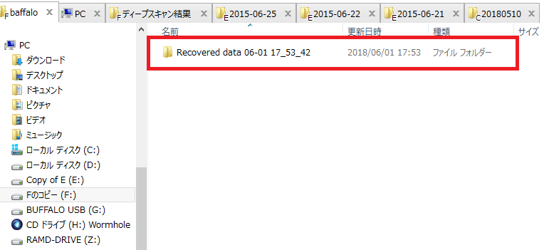 EaseUS Data Recovery Wizard Professional「データ復元の結果」