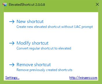 elevated shortcutの立ち上げた画面